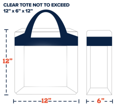 The Clear Bag Policy is a safety regulation that was implemented by the NFL and has been adopted by many major universities. It restricts bag material to PLASTIC, PVC, OR VINYL and cannot exceed size requirements.